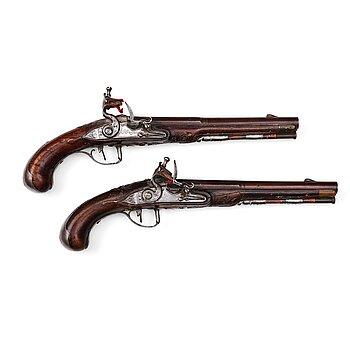 159. A pair of Swedish flintlock pistols by Petter Rundberg (1718-80), master in 1752.