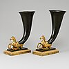 A pair of french rhyton vases, 19th ct.