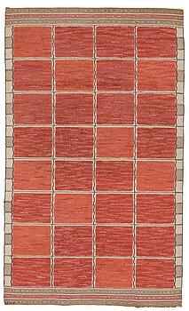 "191. Märta Måås-Fjetterström, A CARPET, ""Rutig röd halvflossa"", knotted pile in relief, ca 258 x 153,5 cm, signed MMF."