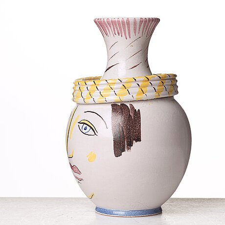 Wilhelm kåge, a faience vase, gustavsberg studio, sweden 1940's.