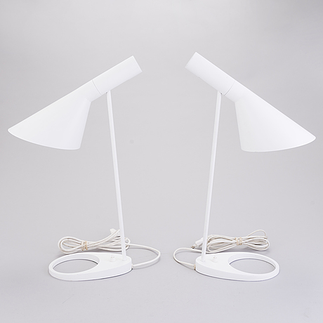 "A pair of table lamps ""aj"" by arne jacobsen for louis poulsen, denmark."
