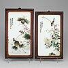 Porslinsplaketter, två stycken. kina, modern tillverkning.