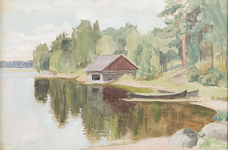 Laura jÄrnefelt, akvarell, gouache, signerad och daterad 1947.
