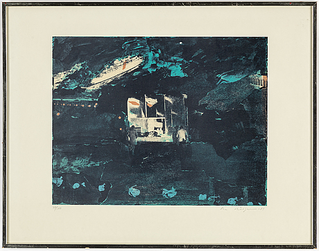 Ola billgren, a colour lithograph, signed and numbered 97/100, dated -83.