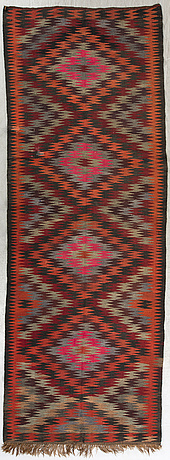 An old veramin kilim ca 413 x 148 cm.