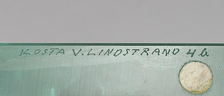 Vicke lindstrand, skulptur, glas, kosta. signerad.