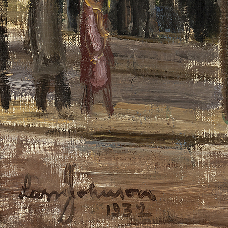 Lasse johnson, oil on canvas, signed and dated 1932.