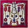 HermÈs, three silk scarves, 'ecole francaise d'equitation saumur', 'frontaux et cocardes' & 'la promenade de longchamps'.