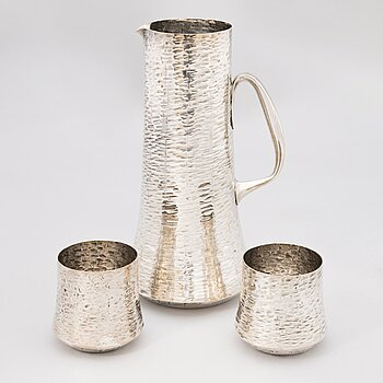 TAPIO WIRKKALA silver pitcher and two beakers, marks of Kultakeskus Oy 1987.