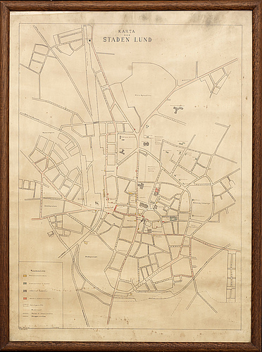 Map - lund, sweden, ink and water color, c erman 1932.