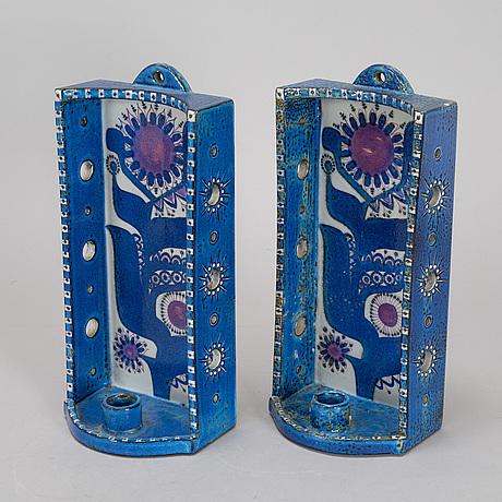 A pair of berte jessen lightholders, alumina, denmark.