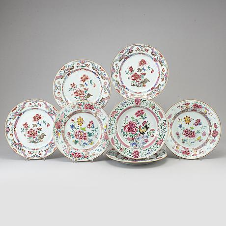Tallrikar, sju stycken, olika, kompaniporslin. qingdynastin, 1700-tal.