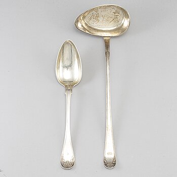 A Swedish 19th century silver soup ladle and serving spoon, Stockholm 1827 and 1837.