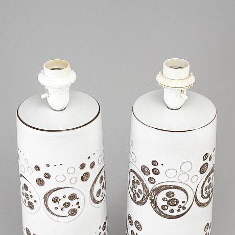2 ceramic table lamps, töreboda, sweden second half of the 20th century.