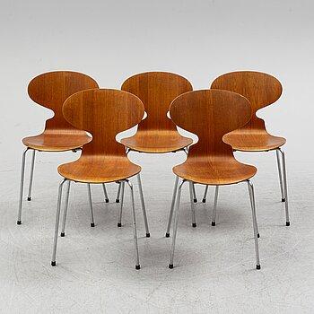Five 'Myran' chairs by Arne Jacobsen, Fritz Hansen, Denmark.