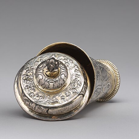 A russian 18th century parcel-gilt silver beaker and cover, mark of grigorij poltow, moscow (1755-1768).