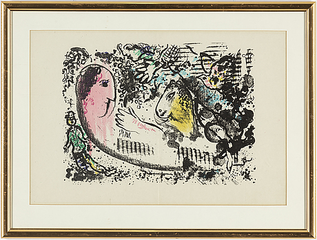 Marc chagall,  lithograph in colours from derrière le miroir nr 182 1969.