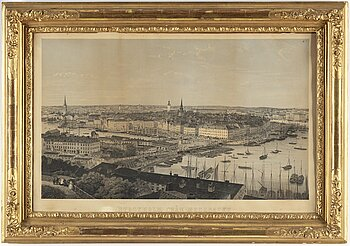 "PRINT, ""Stockholm view from Mosebacke"", after photo by G. Joop."