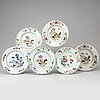 A group of six odd famille rose dishes, qing dynasty, qianlong (1736-95).