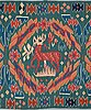 """A carriage cushion, tapestry weave, """"kungahjorten"""", ca 50 x 104,5 cm, scania (sweden),"""