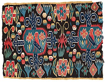 """292. A CARRIAGE CUSHION FRAGMENT, tapestry weave, """"Den innelykta fågeln"""", ca 52 x 67 cm, Scania (Sweden)."""