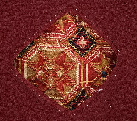 "A carriage cushion, double-interlocked tapestry, ""stjärnmönster"", ca 43,5-44,5 x 94-95 cm, scania (sweden)."