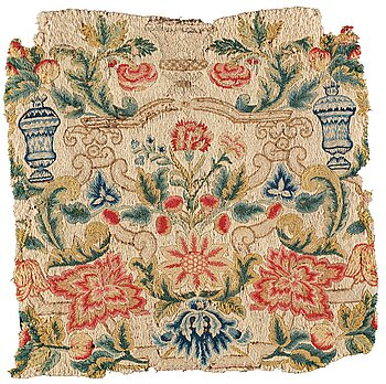 299. AN EMBROIDERY FRAGMENT, ca 47-50,5 x 48-50 cm, Europe 18th century, probably England, Germany or Scandinavia.