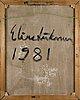 Elina liikanen, öljy kankaalle, a tergo signeerattu ja päivätty 1981.