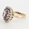 Amethyst and old-cut diamond cluster ring.