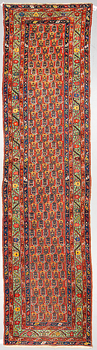 A runner, an antique/semi-antique, probably caucasian, ca 403-406,5 x  96-99 cm (as well as an end with 2 cm flat weave).