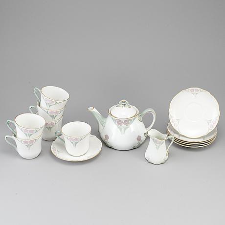Alf wallander, a part porcelain tea service, rörstrand, jugend, early 20th century (8 pieces).