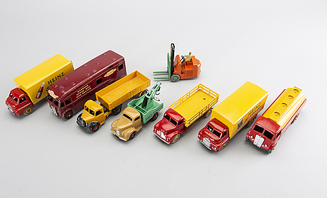 A set of eight dinky toys cars.