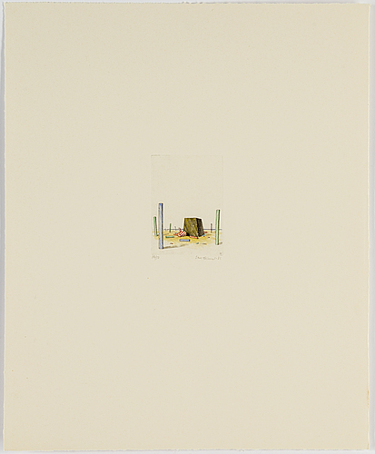 Sten eklund, handkolorerad etsning, 1981, signerad och numrerad 36/50.