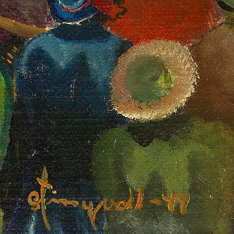 Umknown artist, oil on panel, signed stingvall(?) - 44.