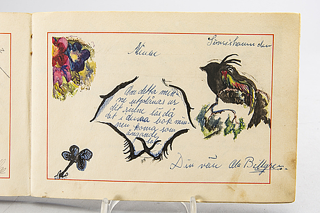 Poetry album, handwritten, with two watercolor sketches by ola billgren, signed, 1948-1951.