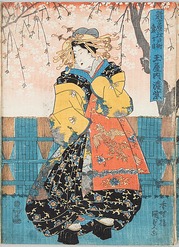 Two japanese coloured woodblock prints, triptychs, meiji (1868-1912).