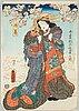 Three coloured woodblock prints, japan, meiji (1868-1912).