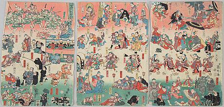 A japanese triptych, meiji (1868-1912).