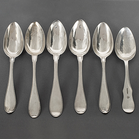 6 silver spoons, sweden 19th century.