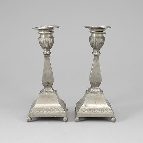 Nils justelius, a pair of swedish pewter candelsticks from eksjö, 1847.