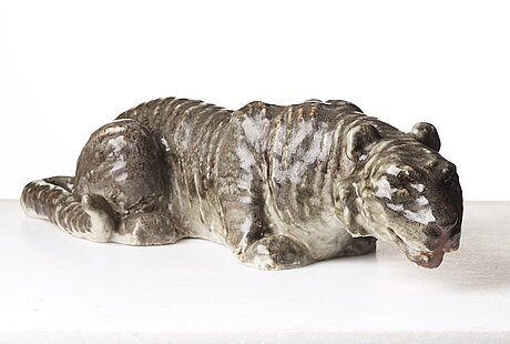 Michael schilkin, a large stoneware sculpture of a hunting tiger, arabia, finland 1940's.