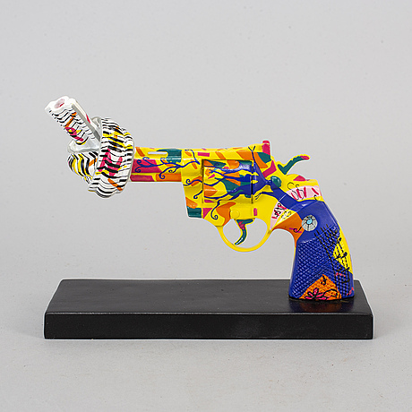 """Carl fredrik reuterswÄrd / anahi, sculpture, """"non-violence/ roots for peace"""", polyresin, numbered 26/499."""