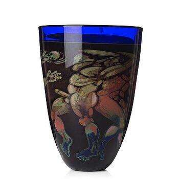 "12. Eva Englund, a ""graal"" glass vase, Orrefors 1988."