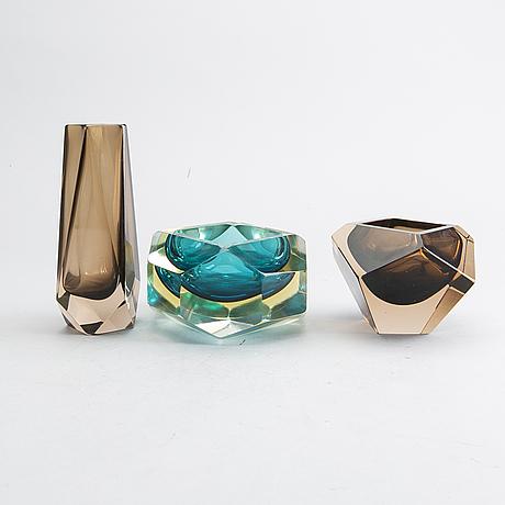 Mandruzzato  skålar 2 st samt vas murano italien 1900-talets mitt glas.
