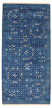 "190. Barbro Nilsson, A CARPET, ""Bankrabatten blå"", knotted pile, ca 235,5 x 111 cm, signed AB MMF BN."