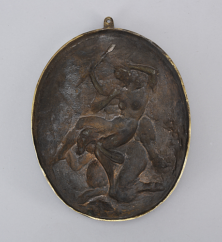 Claude michel clodion, in the manner. medallion, bronze. oval 26.5 x 21.5 cm.