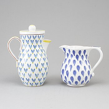 Two second half of the 20th century faiance pitchers by Stig Lindberg, Gustavsberg.