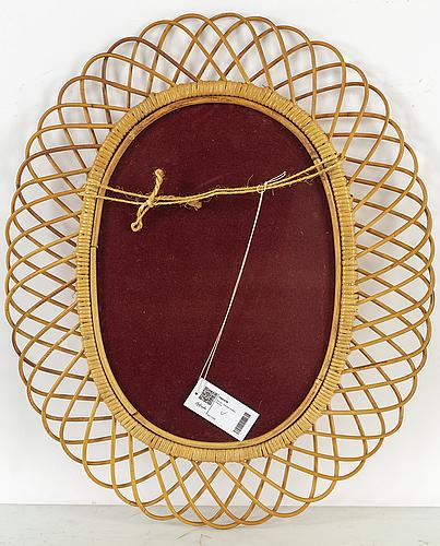 A rattan framed swedish modern mirror, 1940's.