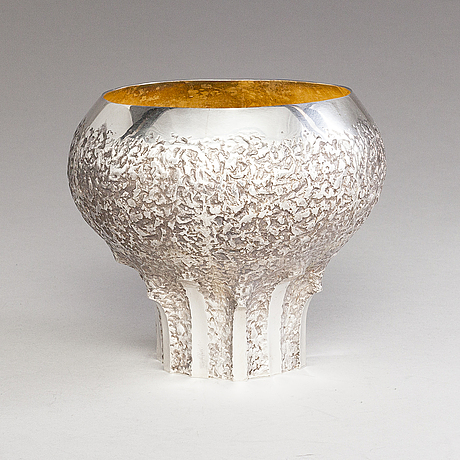 Pekka turtiainen, bålskål med bålslev och bägare, 6 st, silver, stämpelsignerade pekka turtiainen, helsingfors 1984.