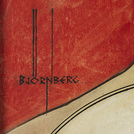 Ivar bjÖrnberg, mixed media on paper, sketch for movie poster, 1926. signed björnberg.